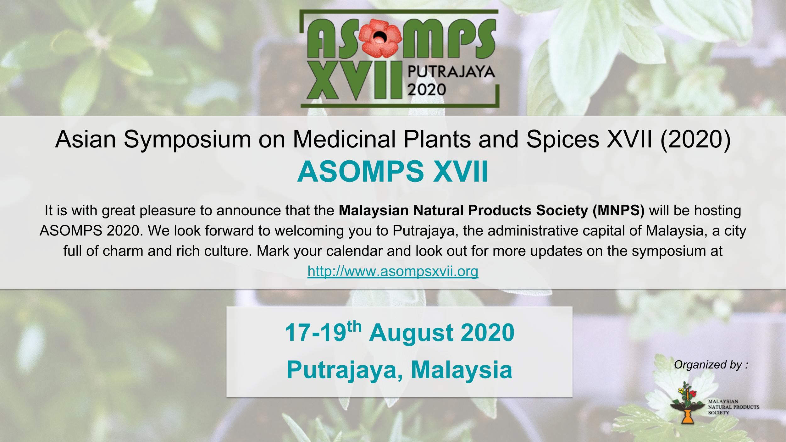 Mnps Calendar 2020.17th Asian Symposium On Medicinal Plants And Spices Asomps Xvii